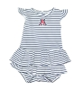 Infant: 'A' Logo Navy Striped White Dress Onesie