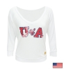 Retro Brand: Ladies Faded U of A ¾ Sleeve White Top