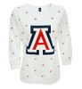 Ladies Big 'A' Logo Polka Dot ¾ Sleeve White Crew Sweater