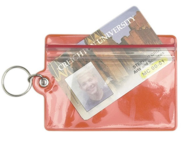Keychain: 'A' Logo Red Zip Lock ID Holder