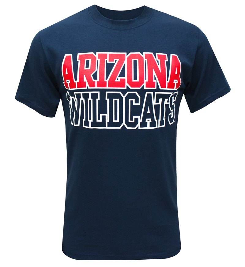 MV Sport: White Outline ARIZONA WILDCATS Navy T-Shirt