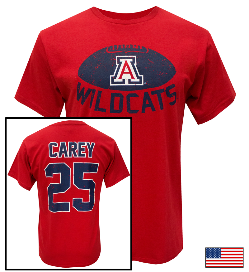 The Victory: Faded WILDCATS 'A' Football CAREY 25 T-Shirt