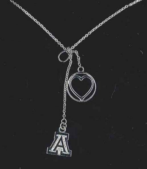 Arizona Logo Charm With Heart Charm Sterling Necklace