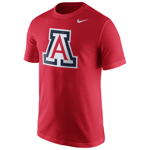 Nike: Arizona College Cotton Sideline Logo Red Tee