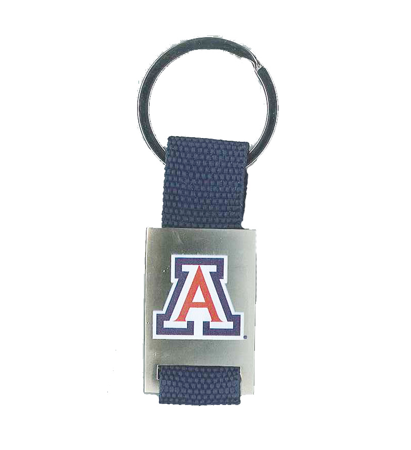 Keychain: Arizona Logo Fabric Strad Metal Key Tag Navy