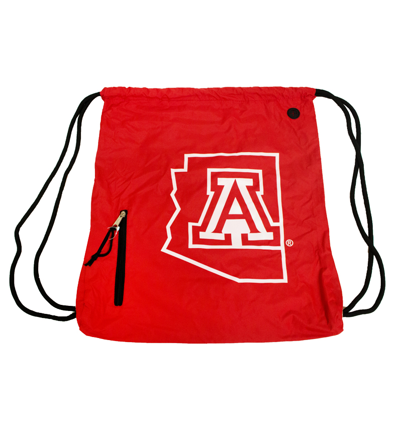 Drawstring Bag: Red 'A' Arizona State Outline