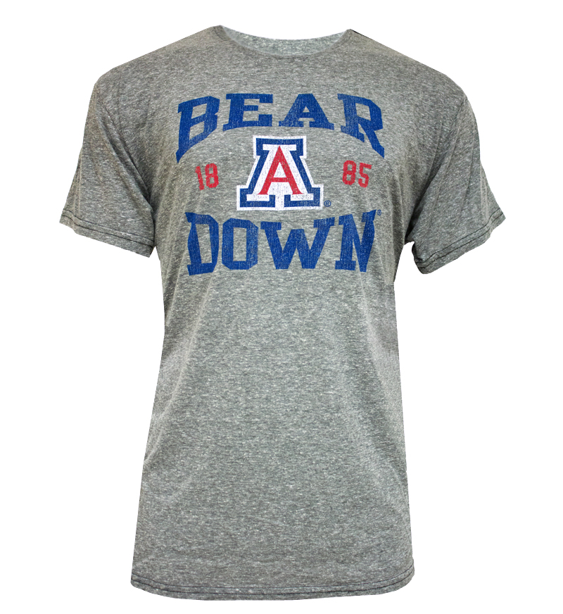 Retro Brand: Faded Heather Gray 'Bear Down' 1885 'A' T-Shirt