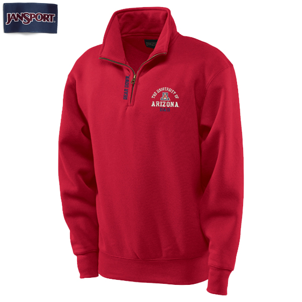 JanSport: Arizona E-Zee 1/4 Zip Dad Bear Down Red Fleece