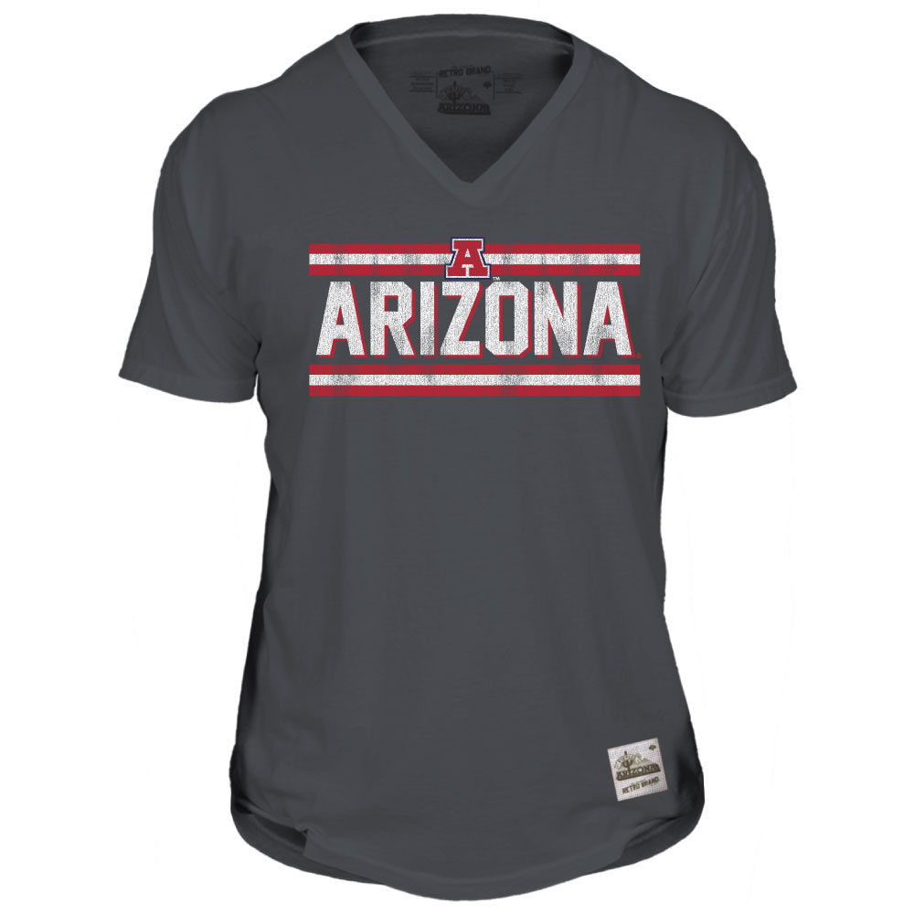 Retro Brand: Arizona Bars Unisex V-Neck Tee Charcoal