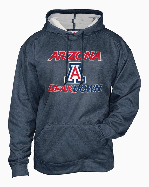 Badger Sport: Arizona Bear Down Pro Heather Fleece Hood Navy