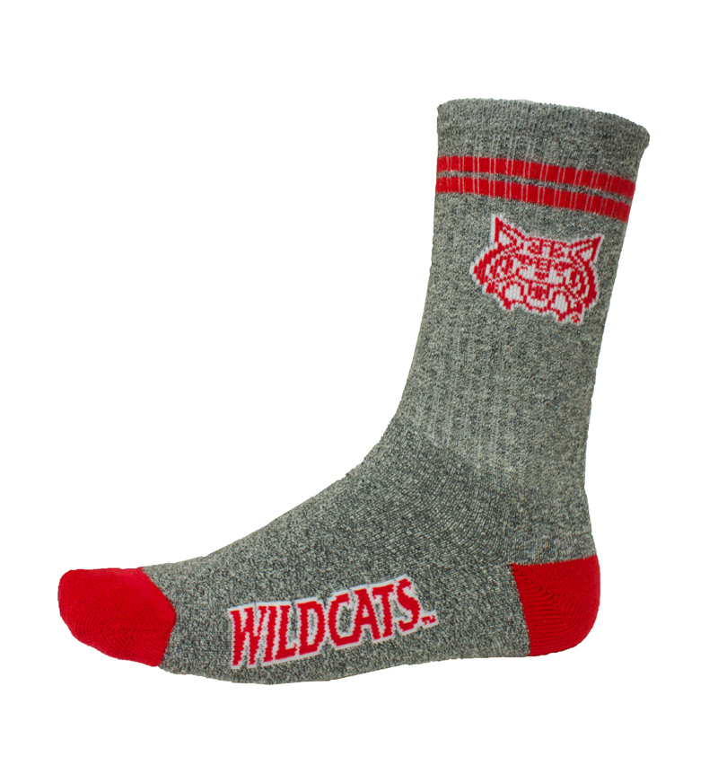 Socks: Gray/ Red Arizona Wildcats