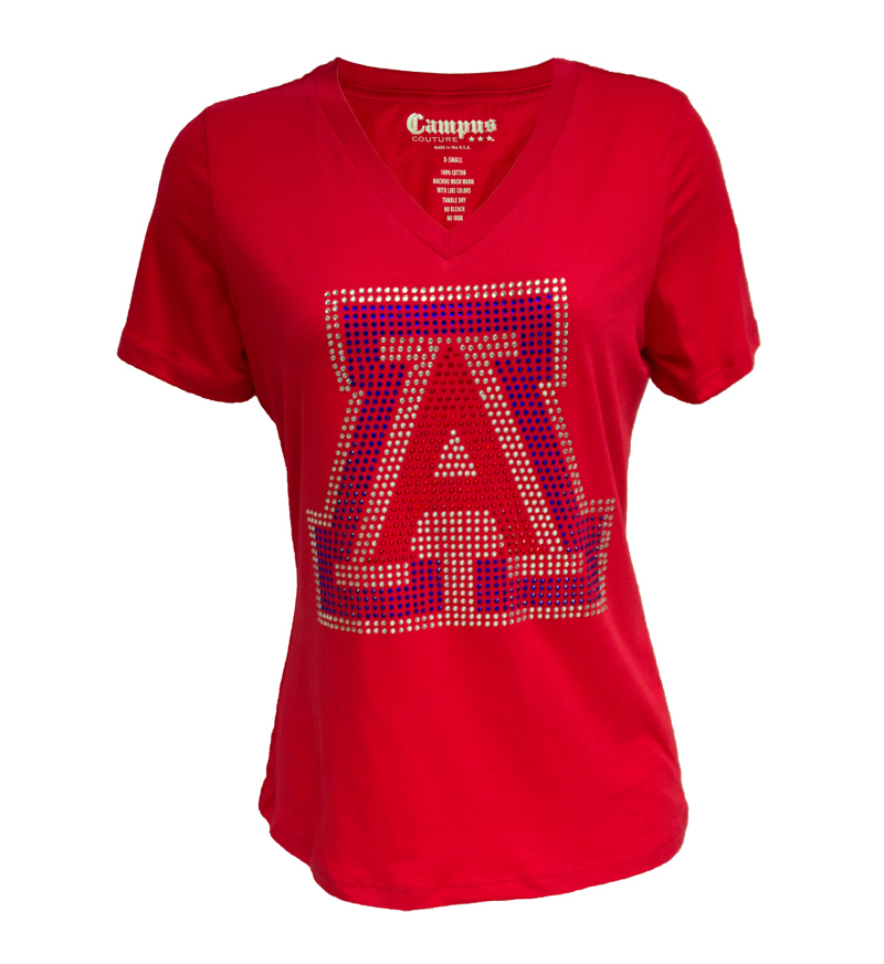 Campus Couture: Arizona Rhinestone Women's V-Neck Red Tee