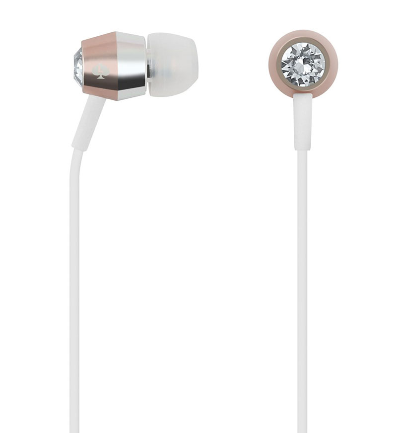 Kate Spade: Earbud Headphones-Crystal/Rose Gold/Silver/Wh
