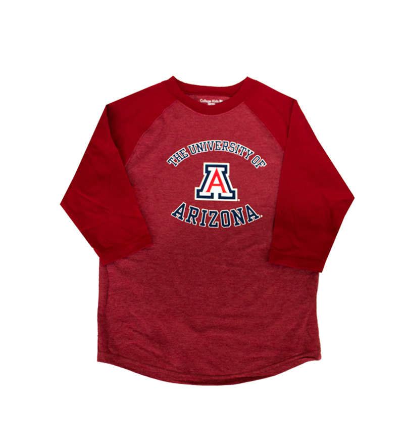 College Kids: Arizona Home Run 3/4 Youth Raglan Tee Red