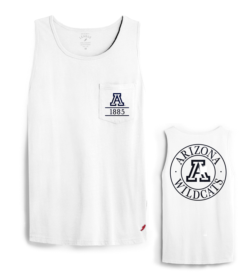 League 91: Arizona Wildcats Est. 1885 Washed Pocket Tank Top