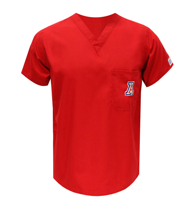 Red 'A' Scrub Top