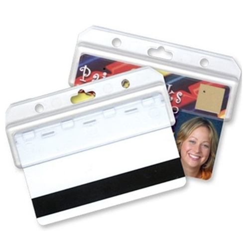 Image For Frosted Plastic Horizontal Half ID Card Holder