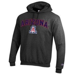 Image For Champion: Arizona Wildcats Arch Logo Hoodie-Charcoal