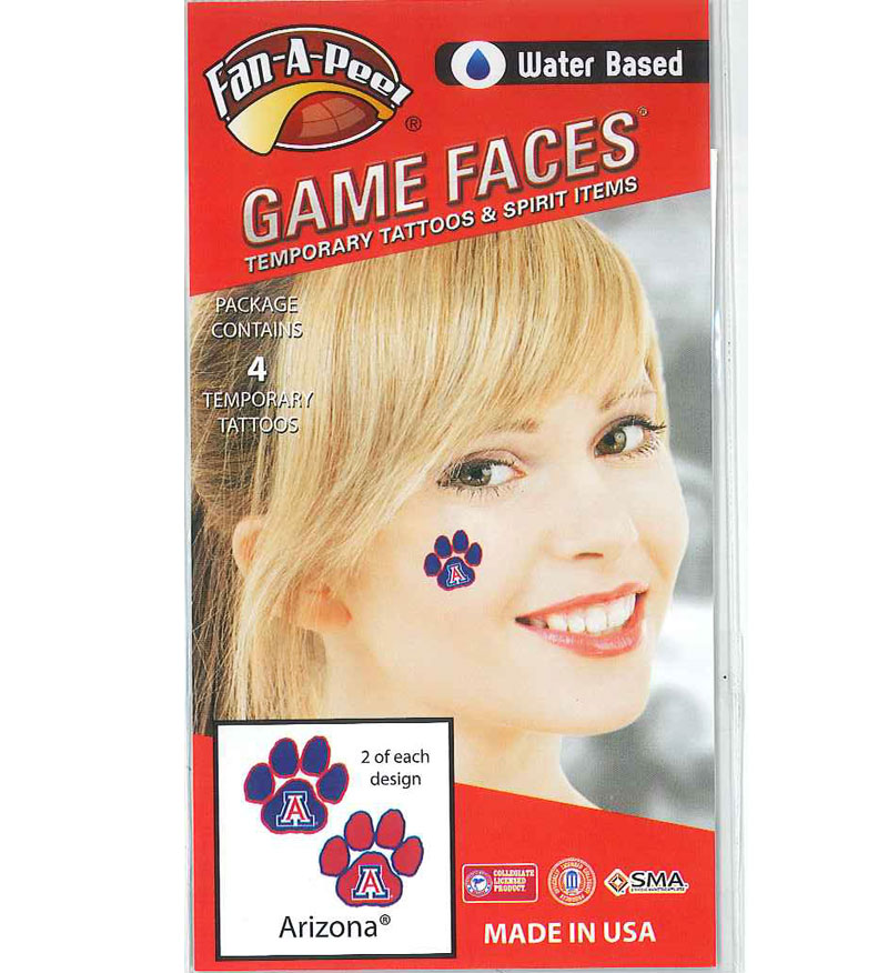 Image For Temporary Tattoos: Arizona Game Faces Wildcat Paws