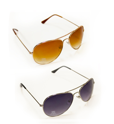 Image For Sunglasses: 'A' Logo Aviators<BR>Black or Brown