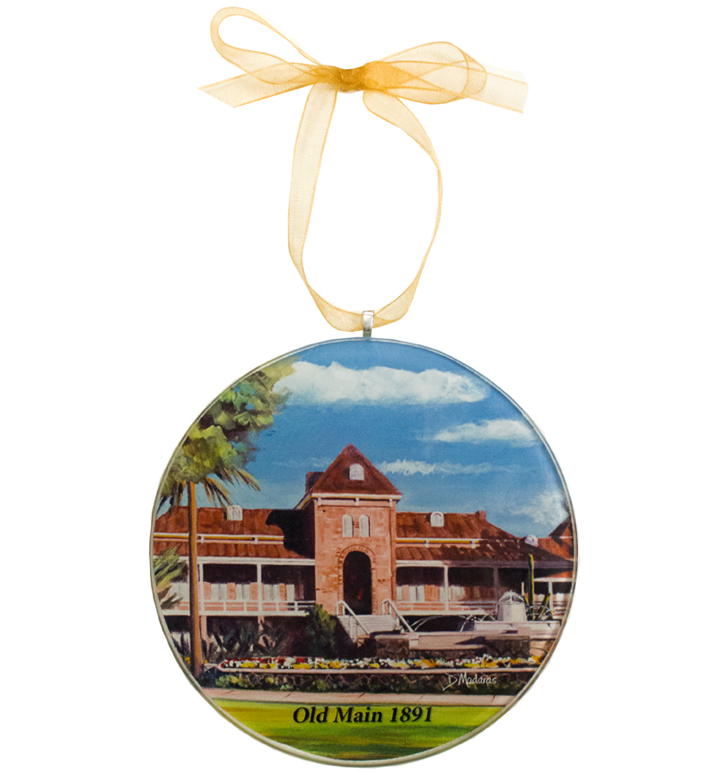 Image For Diana Madaras<br> Fountain at Old Main Round Glass Ornament