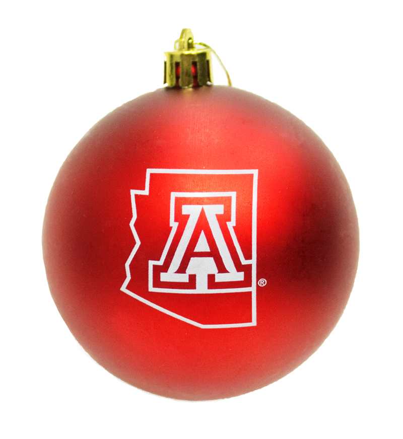 Image For 'A' Arizona Outline Red Ball Ornament