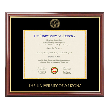 Image For Diploma Frame: Petite Mahogany with Gold Trim