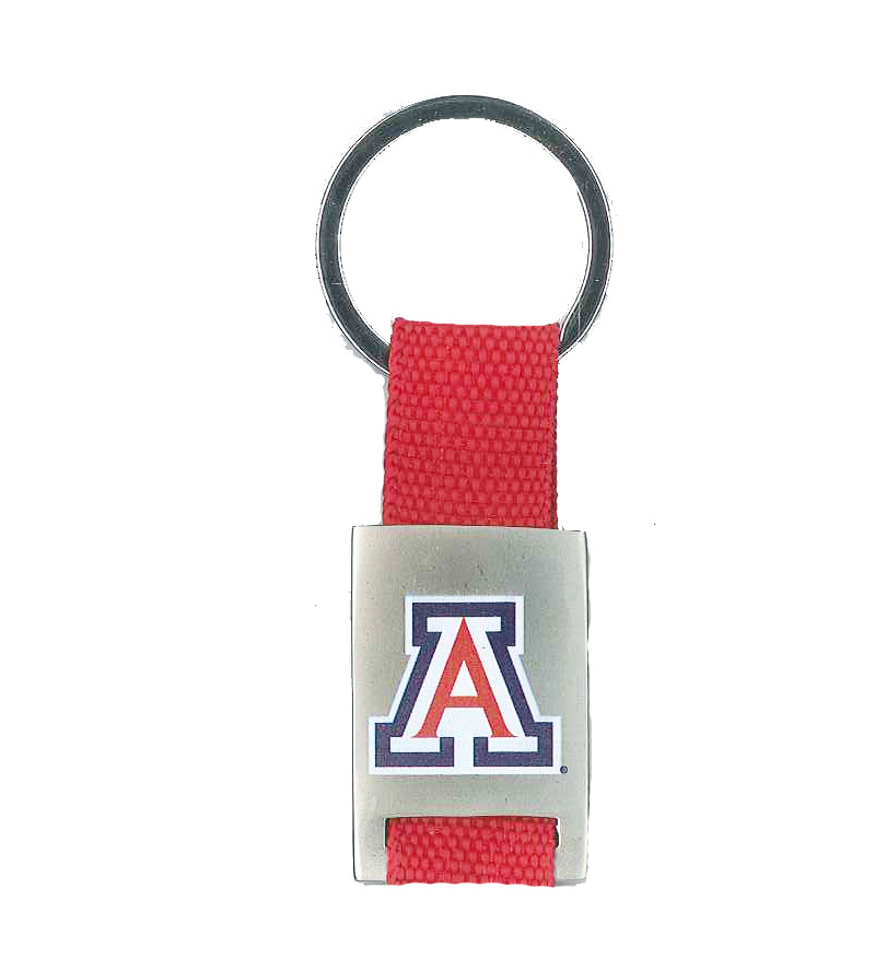 Cover Image For Keychain: Arizona Logo Fabric Strad Metal Key Tag Red