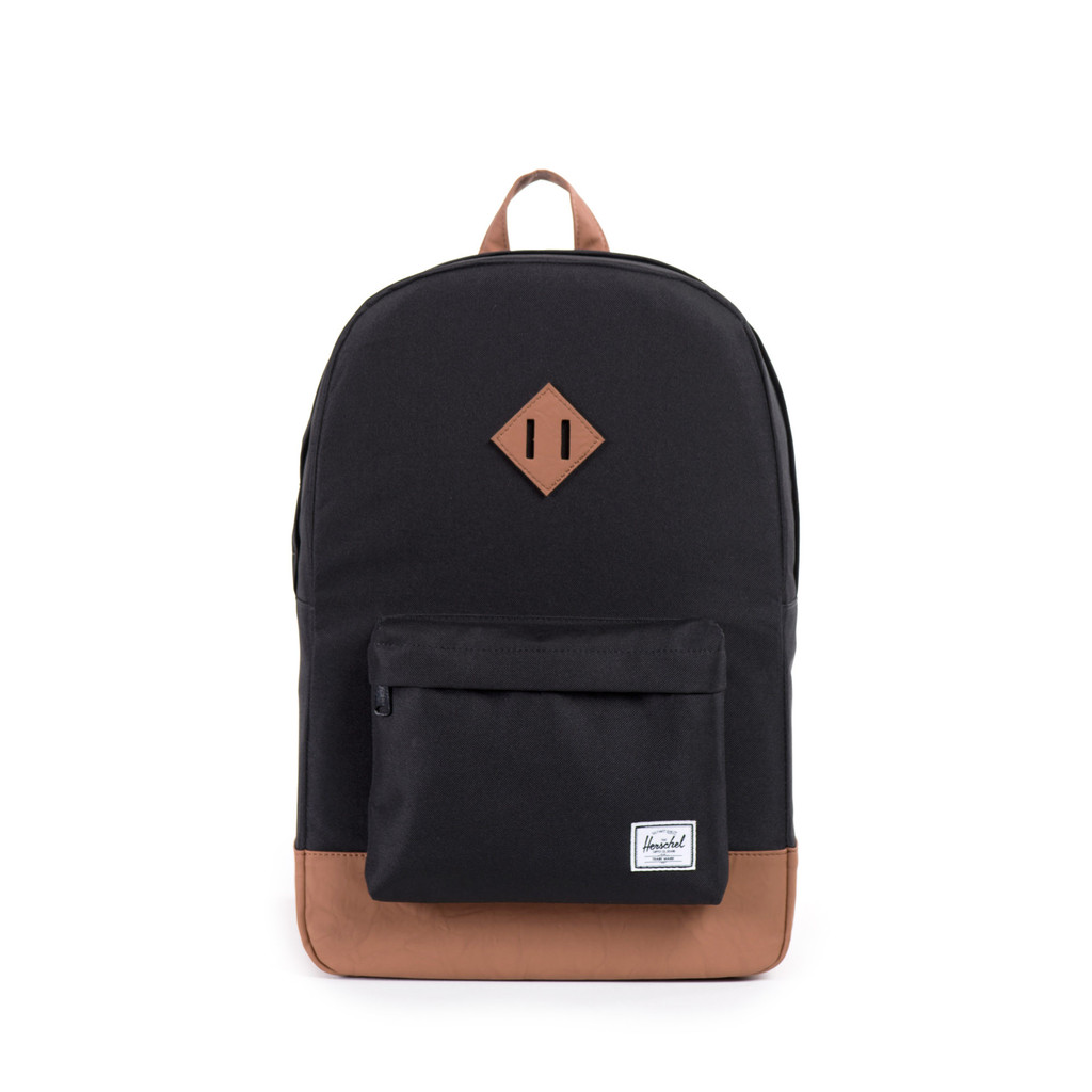 Cover Image For Herschel Heritage Backpack Black/Tan Synthetic Leather