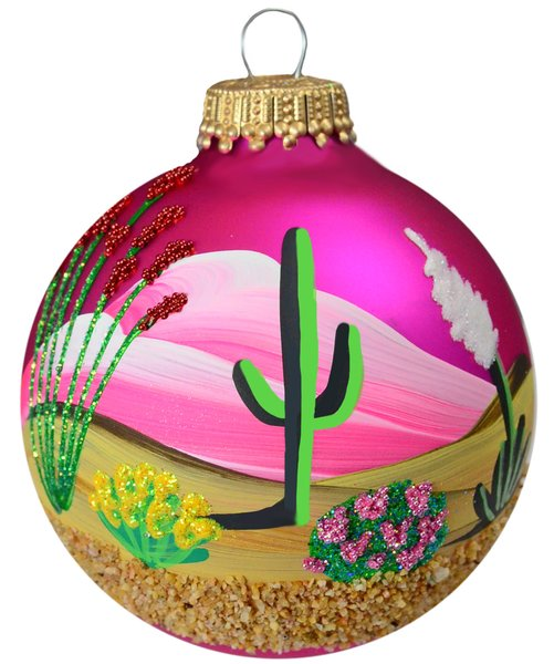 Image For Desert in Bloom - Handpainted Holiday Ornament