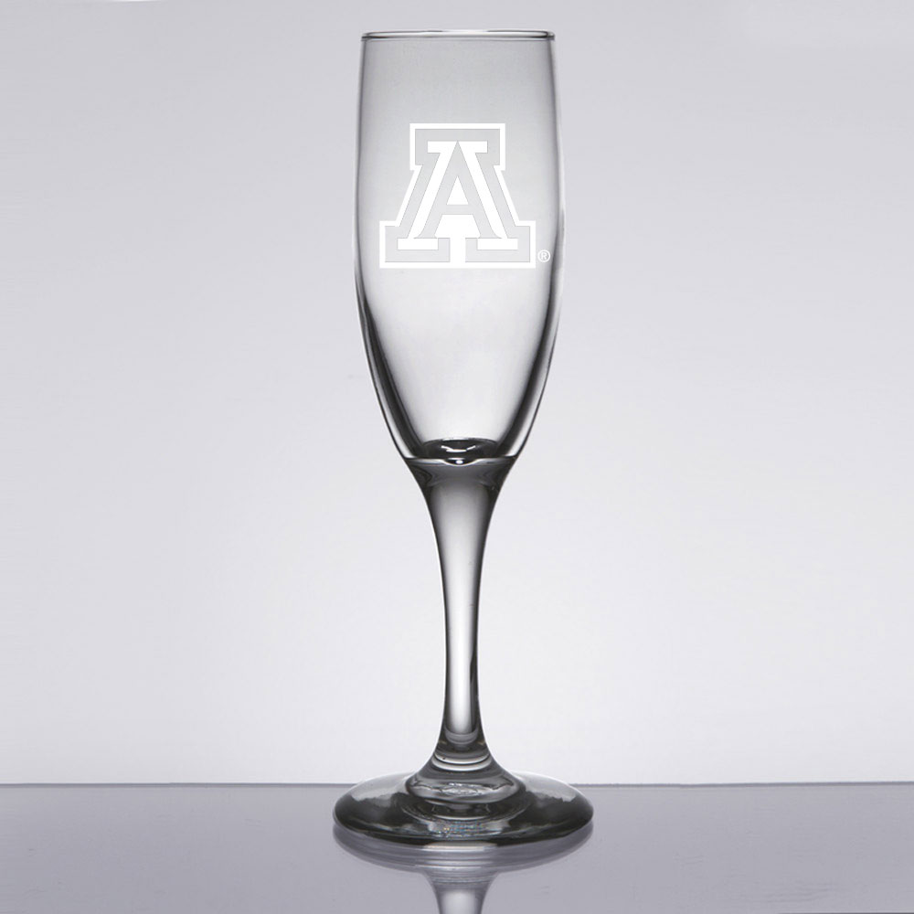Image For Glass: Arizona Etched Logo Champagne Flute