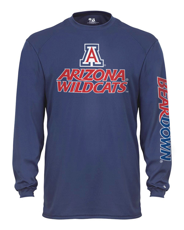 Image For Badger Sport: Ariozna Wildcats Bear Down B-Core L/S Navy Tee
