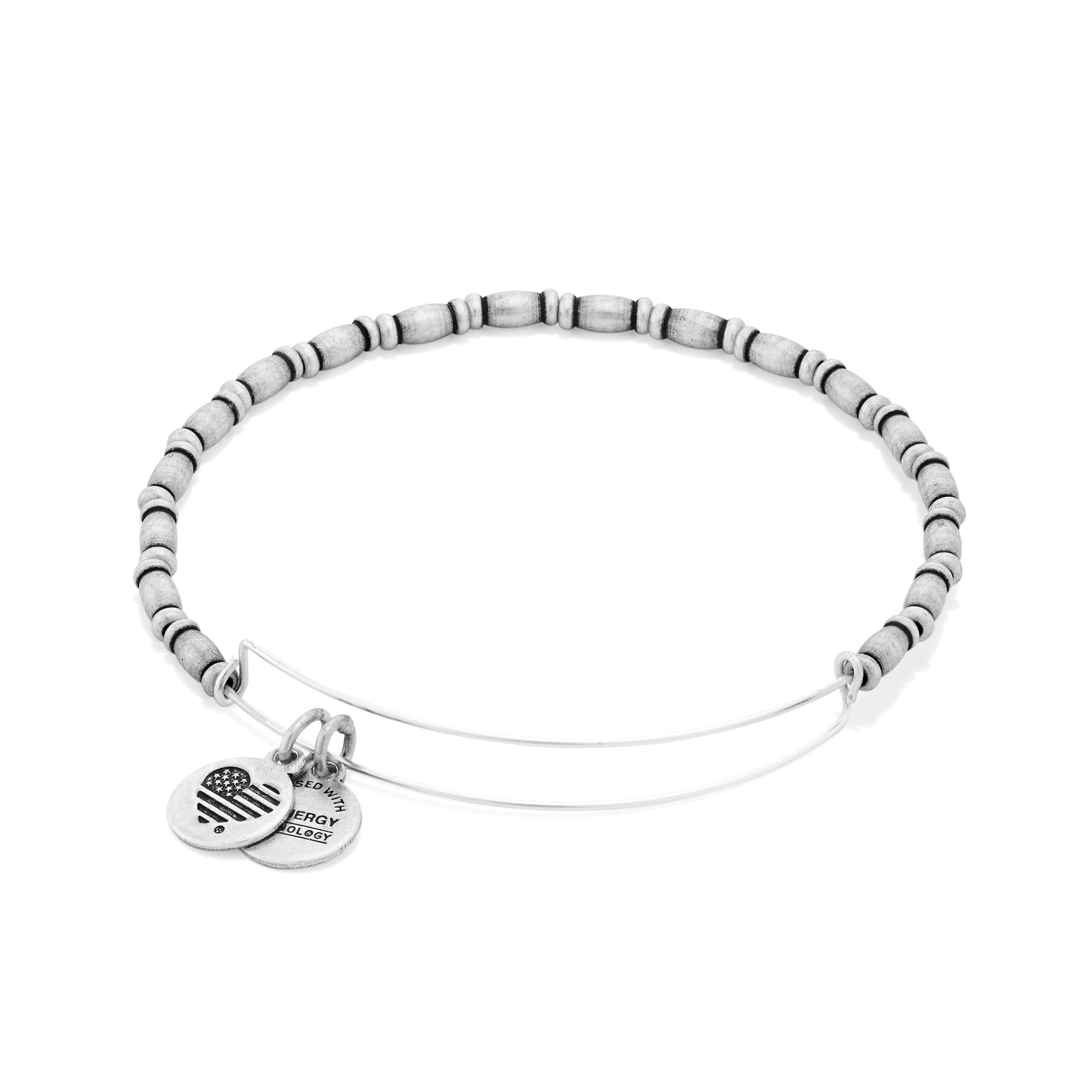 Image For Alex and Ani: Reed Beaded Bangle Rafaelian Silver Finish
