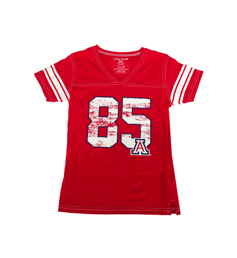 Image For College Kids: Arizona 85 Girls Football Tee Red
