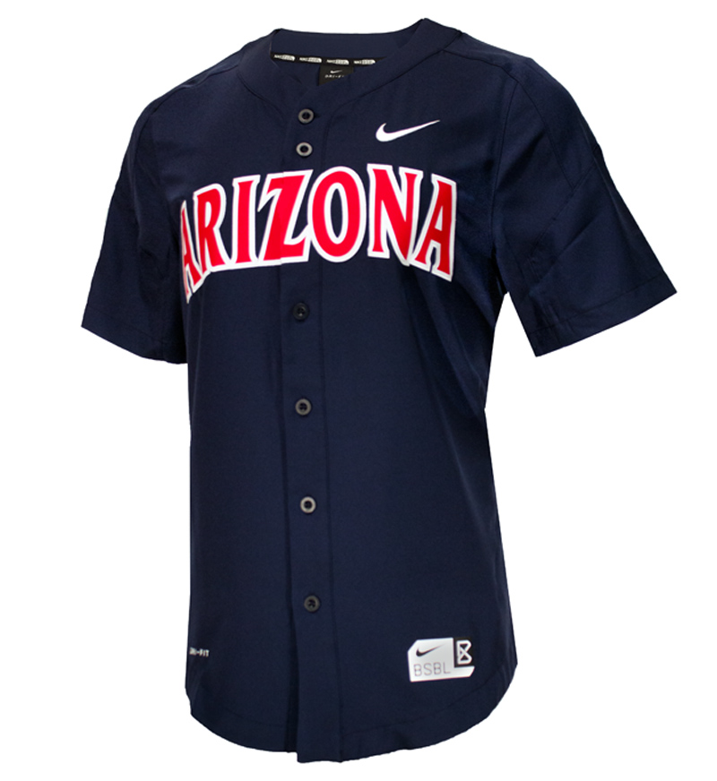 Image For Nike  Arizona Baseball Full Button Vapor Jersey-Navy 6c26f0cb9d