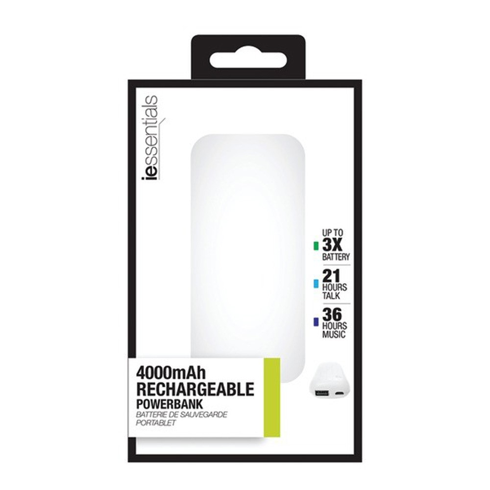 Image For IESSENTIALS: Power Bank with UL Battery Pack - 4,000mAh
