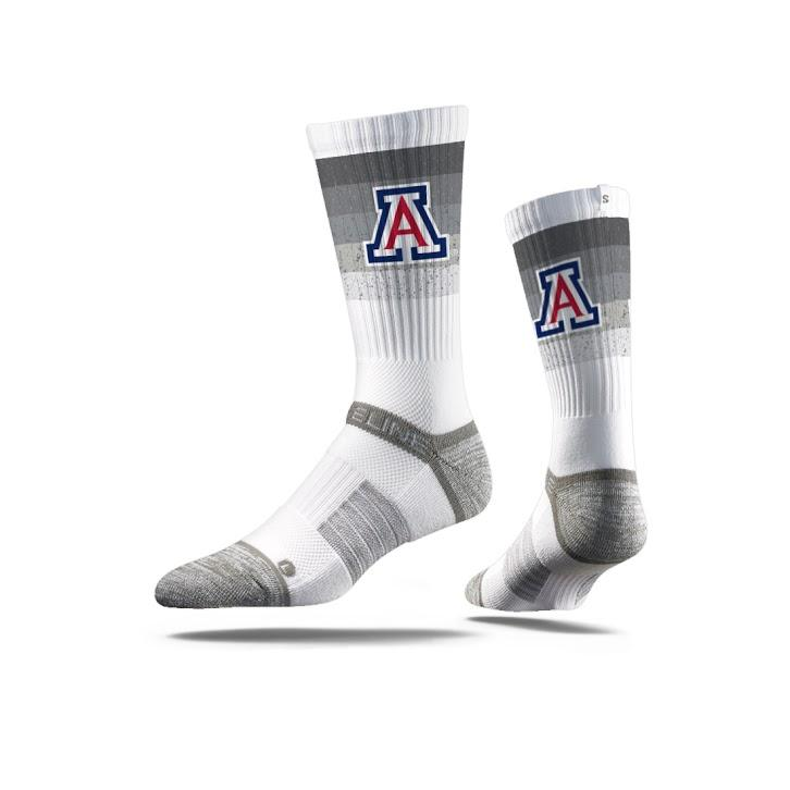 Image For Strideline: Arizona Crew Stripe Fade White-Large