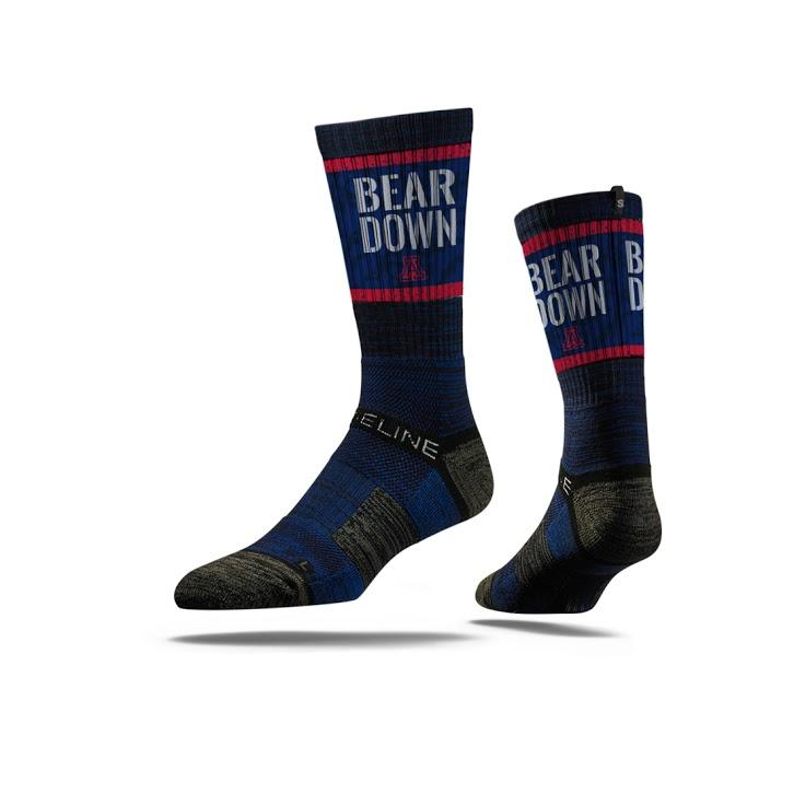 Image For Strideline: Arizona BEAR DOWN Crew Socks Navy-Large
