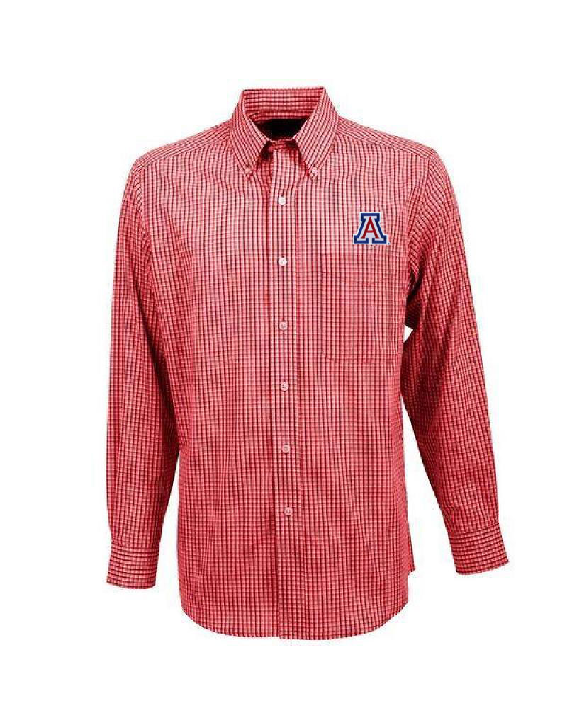Image For Antigua: Arizona Wildcats Associate Plaid Long Sleeve-Red