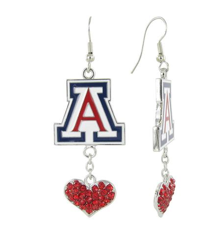 Image For RhinestoneU: Arizona Wildcats Love Fish Hook Earrings-Red