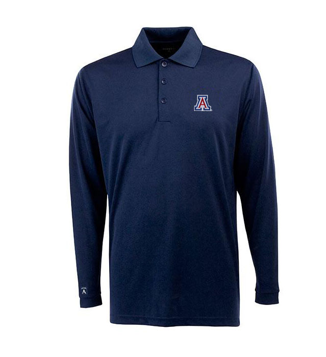 Image For Antigua: Arizona Wildcats Exceed Long Sleeve Polo-Navy