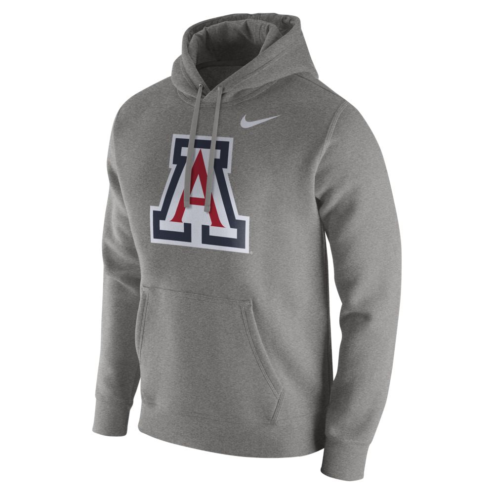 9d9db24d108 Image For Nike: Arizona Wildcats Club Fleece Hoodie-Grey Heather