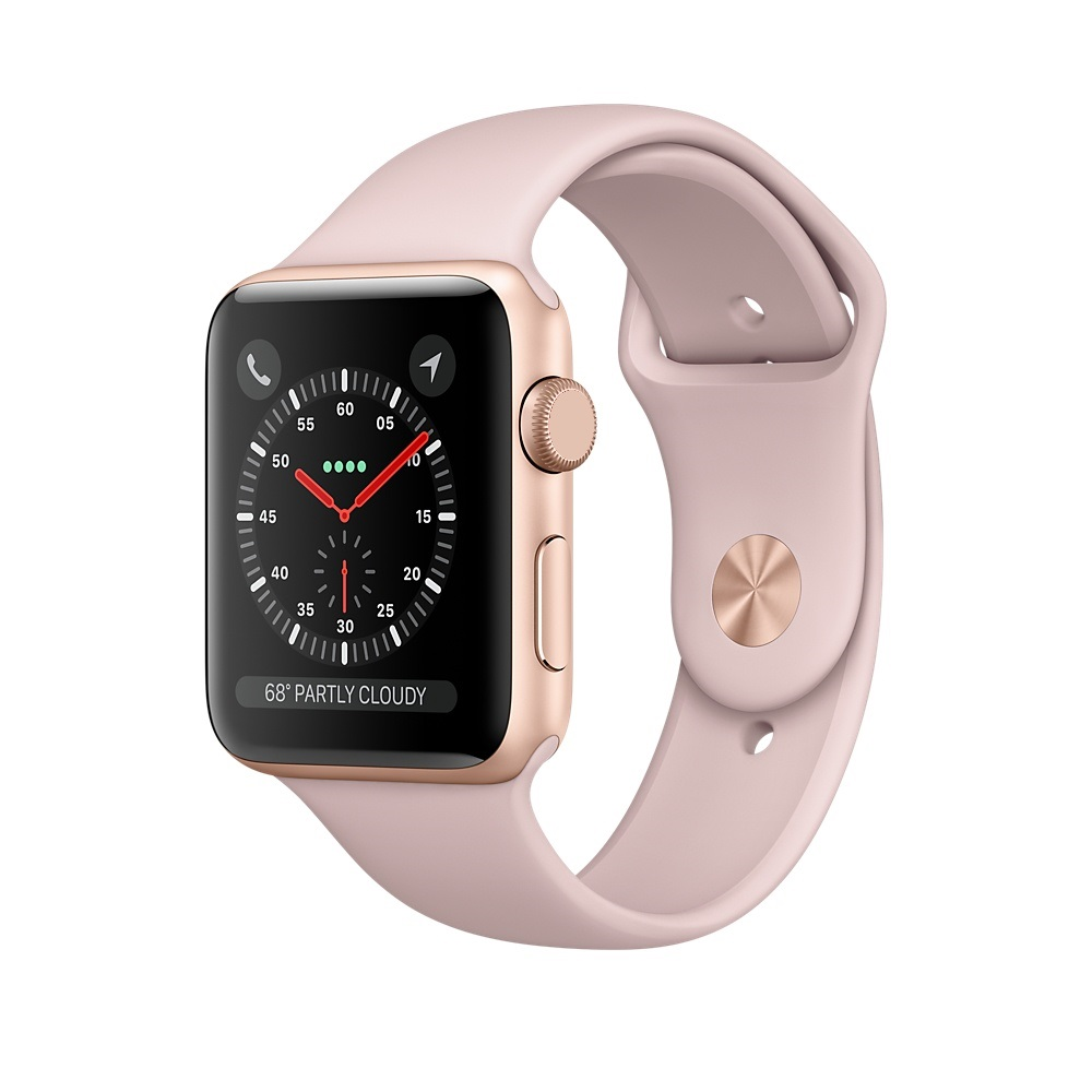 Cover Image For Apple Watch Series 3 GPS Gold Alum 38mm W/ Pink Sand Band
