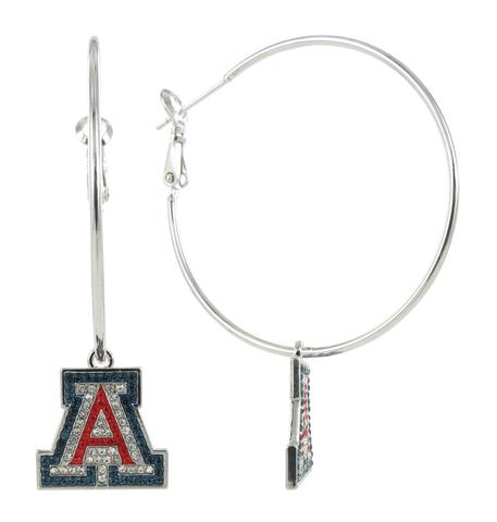 "Image For RhinestoneU: Arizona Wildcats Crystal ""A"" Hoop Earrings"