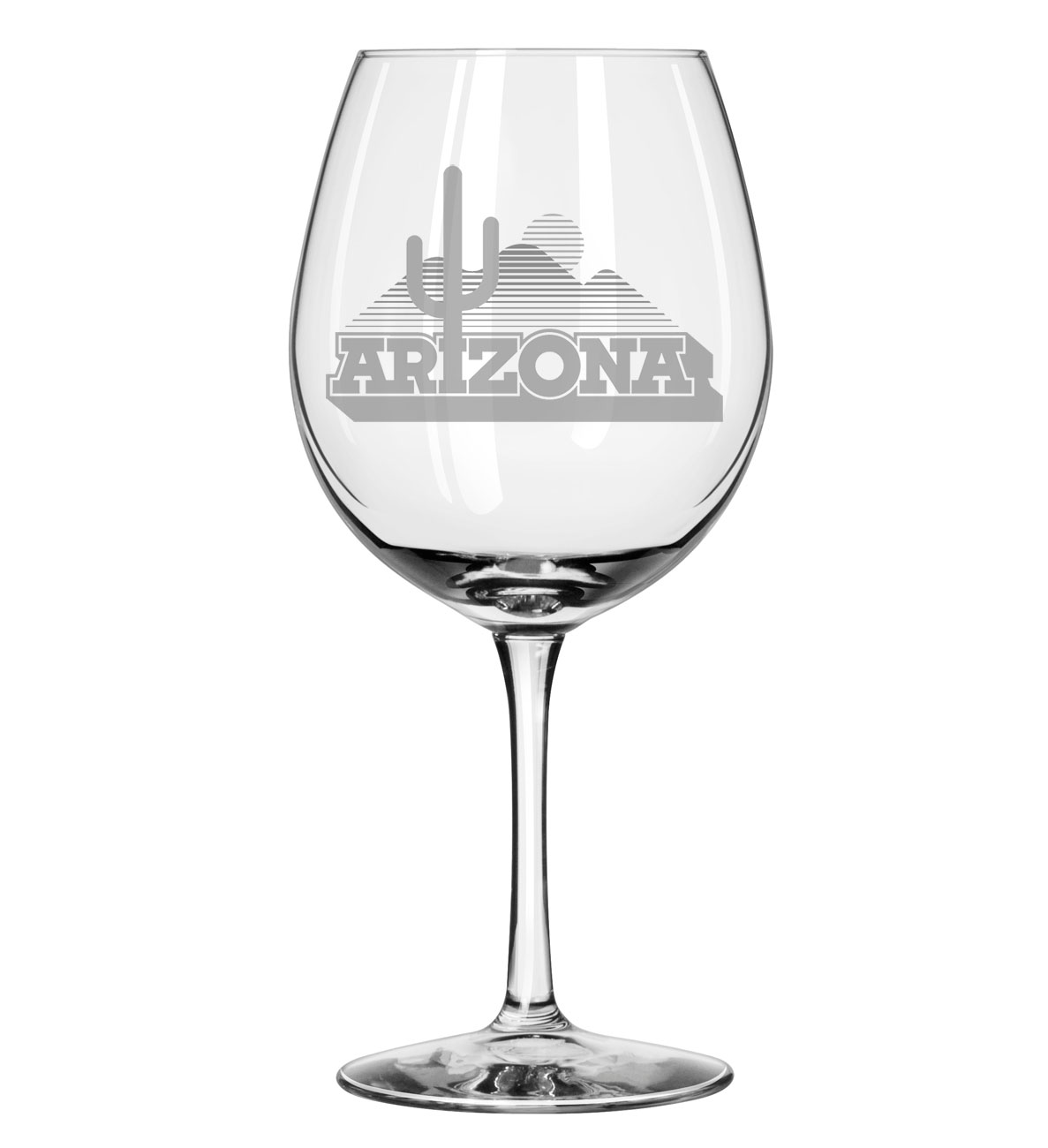 Image For Glass: Arizona Cactus Logo Etched Vina Wine Glass