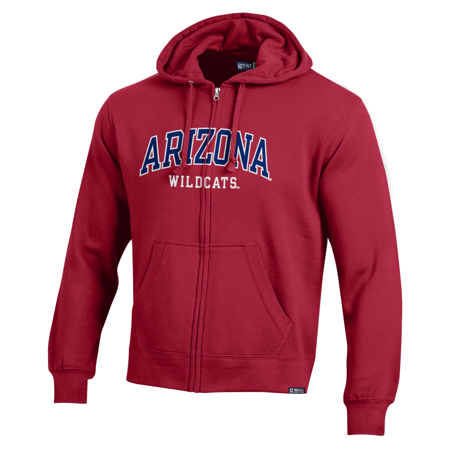 Image For Gear: Arizona Wildcats Big Cotton Full Zip Hoodie - Red