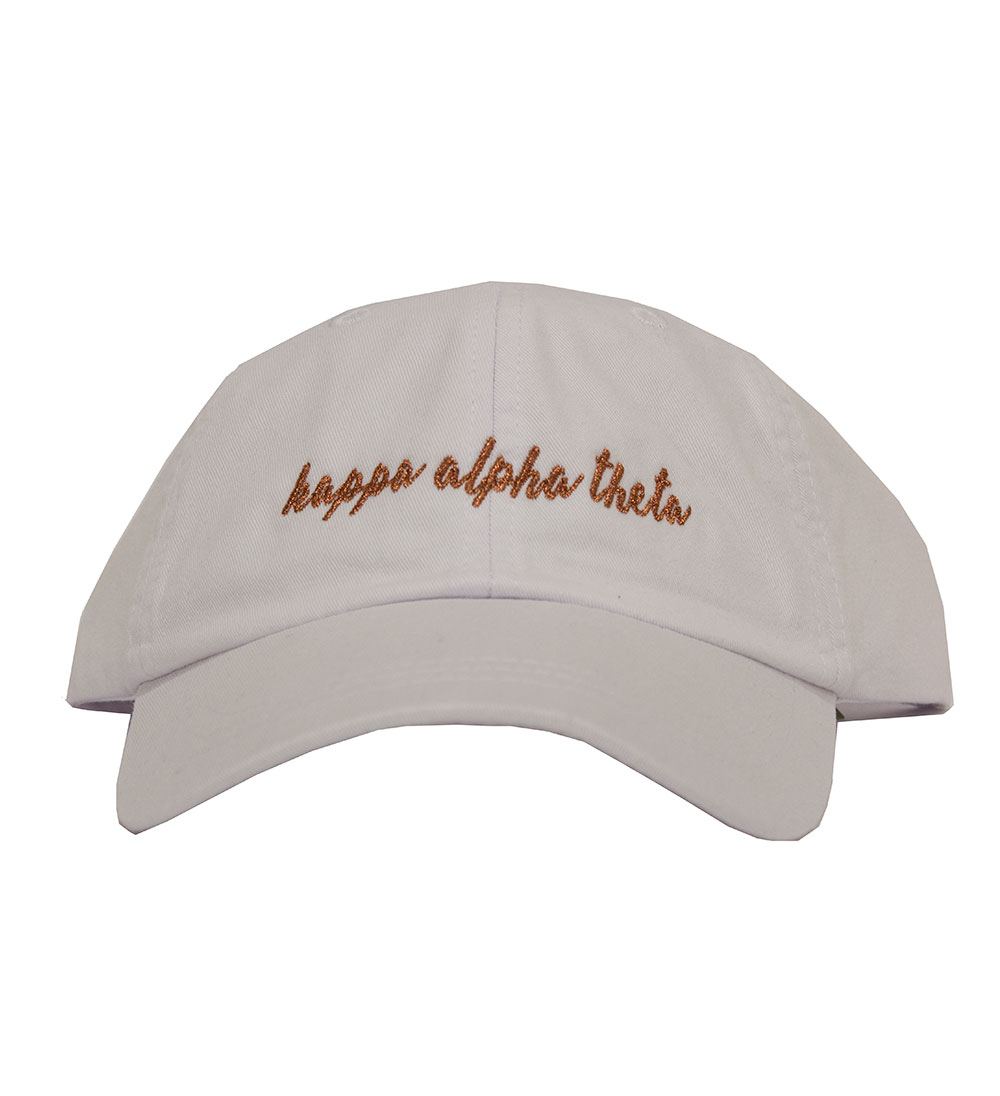 Image For Desert Cactus Copper Glitter Script Greek Cap-White