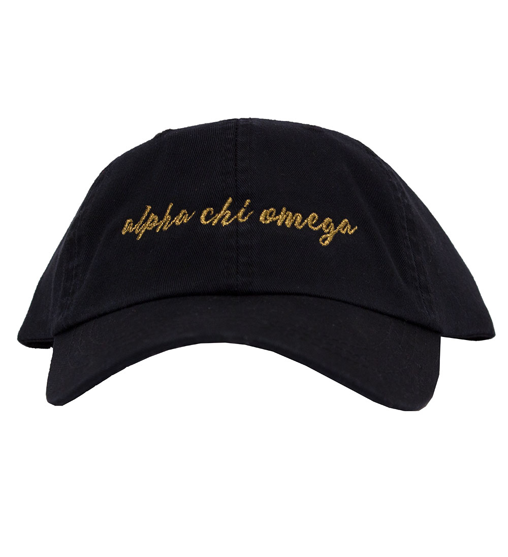 Image For Desert Cactus Copper Glitter Script Greek Cap-Black