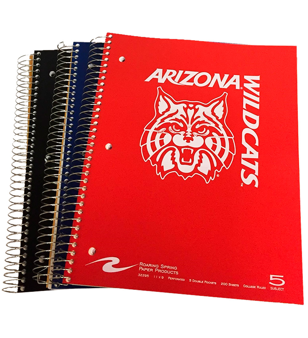 Image For Notebook: Arizona Wildcat Face Logo 5-Subject