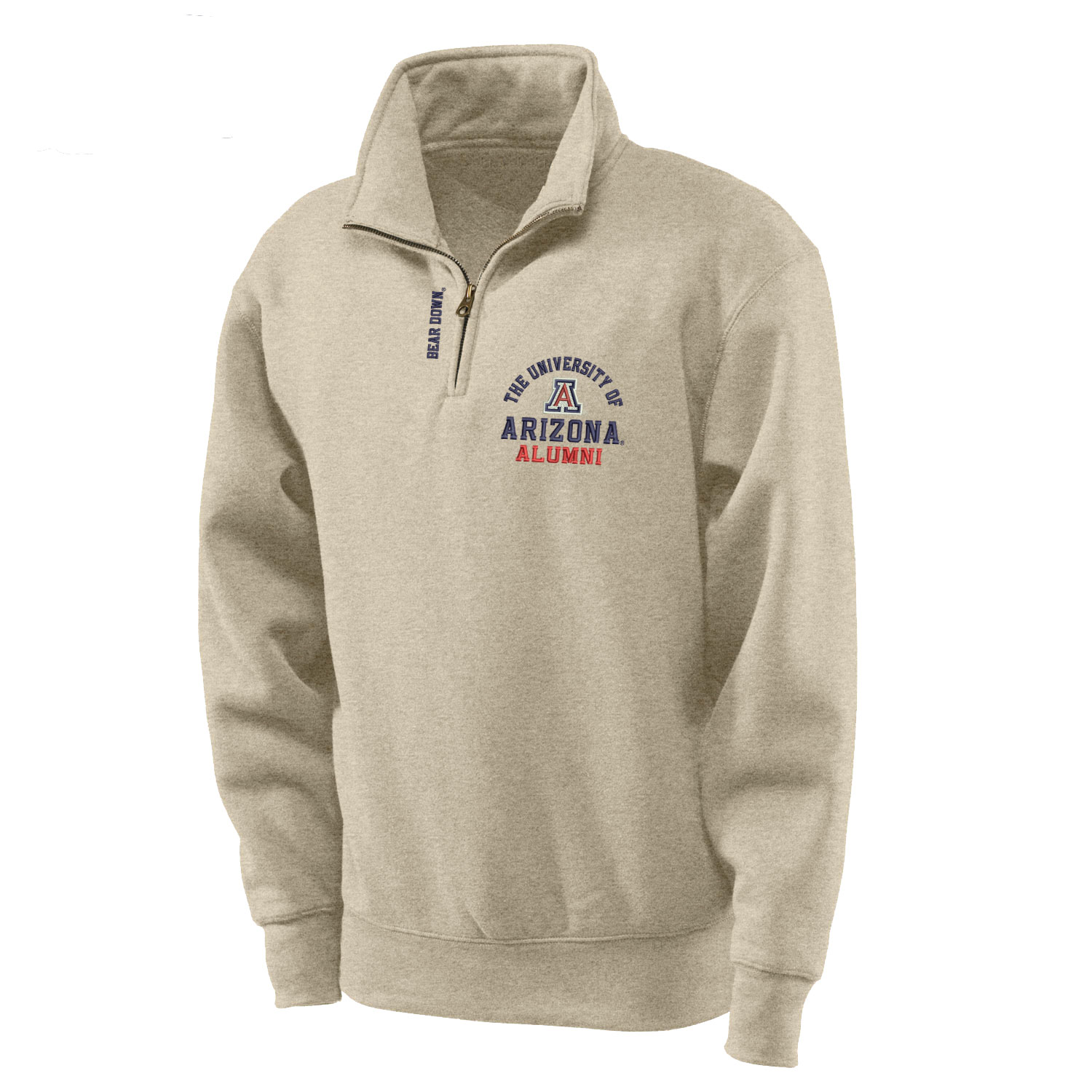 Image For Gear: Univ of Arizona Big Cotton Alumni 1/4 Zip - Oatmeal